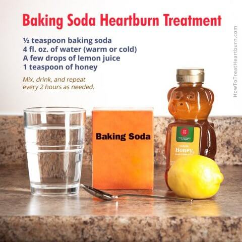 Baking soda for heartburn treatment