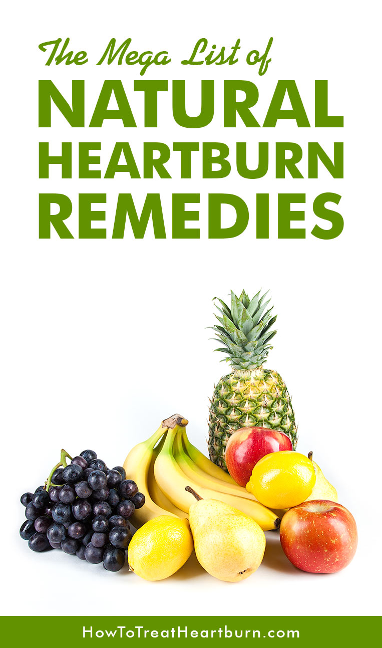 Check out The Mega List for Natural Heartburn Remedies. Food can be used as a natural and healthy remedy for acid reflux, heartburn, and GERD without having to take heartburn medications.
