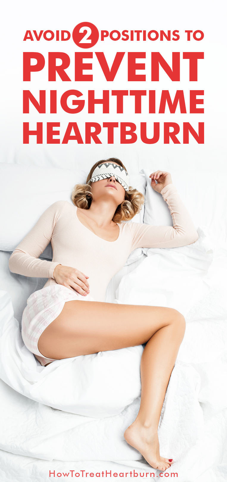 Do you experience nighttime heartburn? Nighttime heartburn can bring painful symptoms of a sore throat, regurgitation, coughing, choking, and chronic sinus issues. There is a simple fix for relieving nighttime heartburn. Avoid these two positions to prevent nighttime heartburn.
