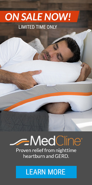 What do you get if you combine the best sleeping position (the left side) and add an incline? The MedCline Acid Reflux Pillow System (wedge pillow).